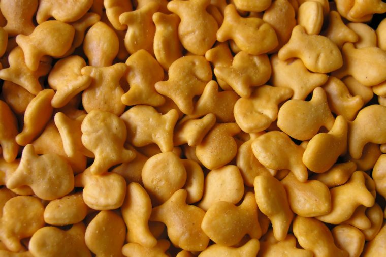 Goldfish crackers as a background close-up