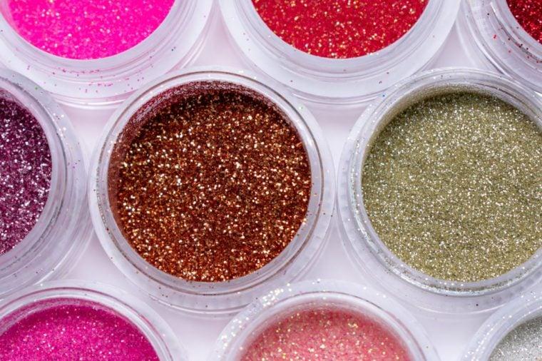 Shiny sand. Makeup. Pigments