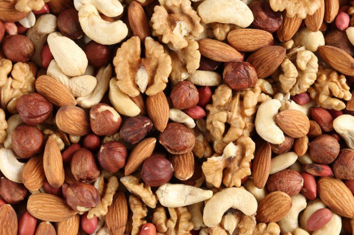 different nuts in a heap