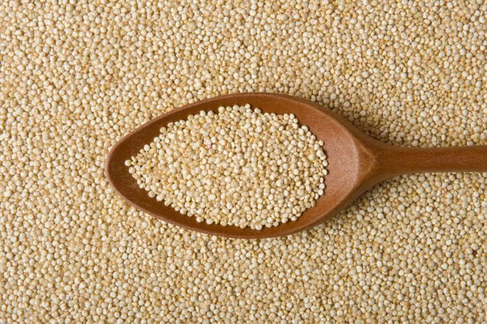 Quinoa Real on a wooden spoon