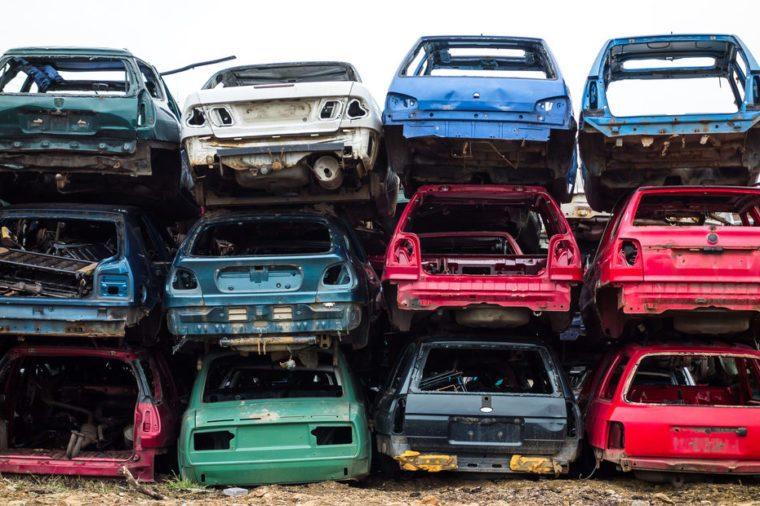 Car bodies stacked at the junkyard