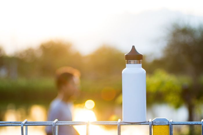 A cycling bottle is in the morning