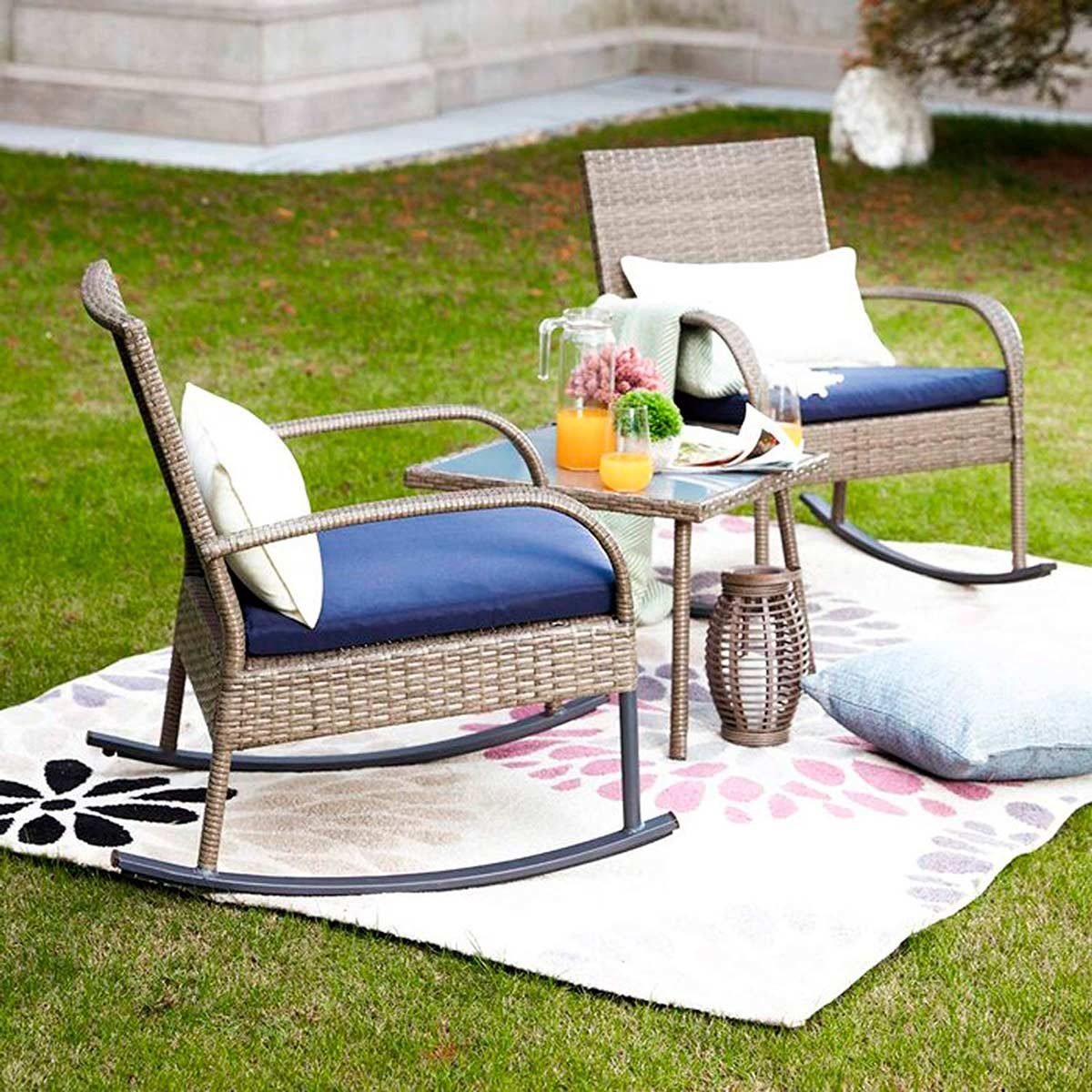 Amazon patio furniture cushioned rocking chairs