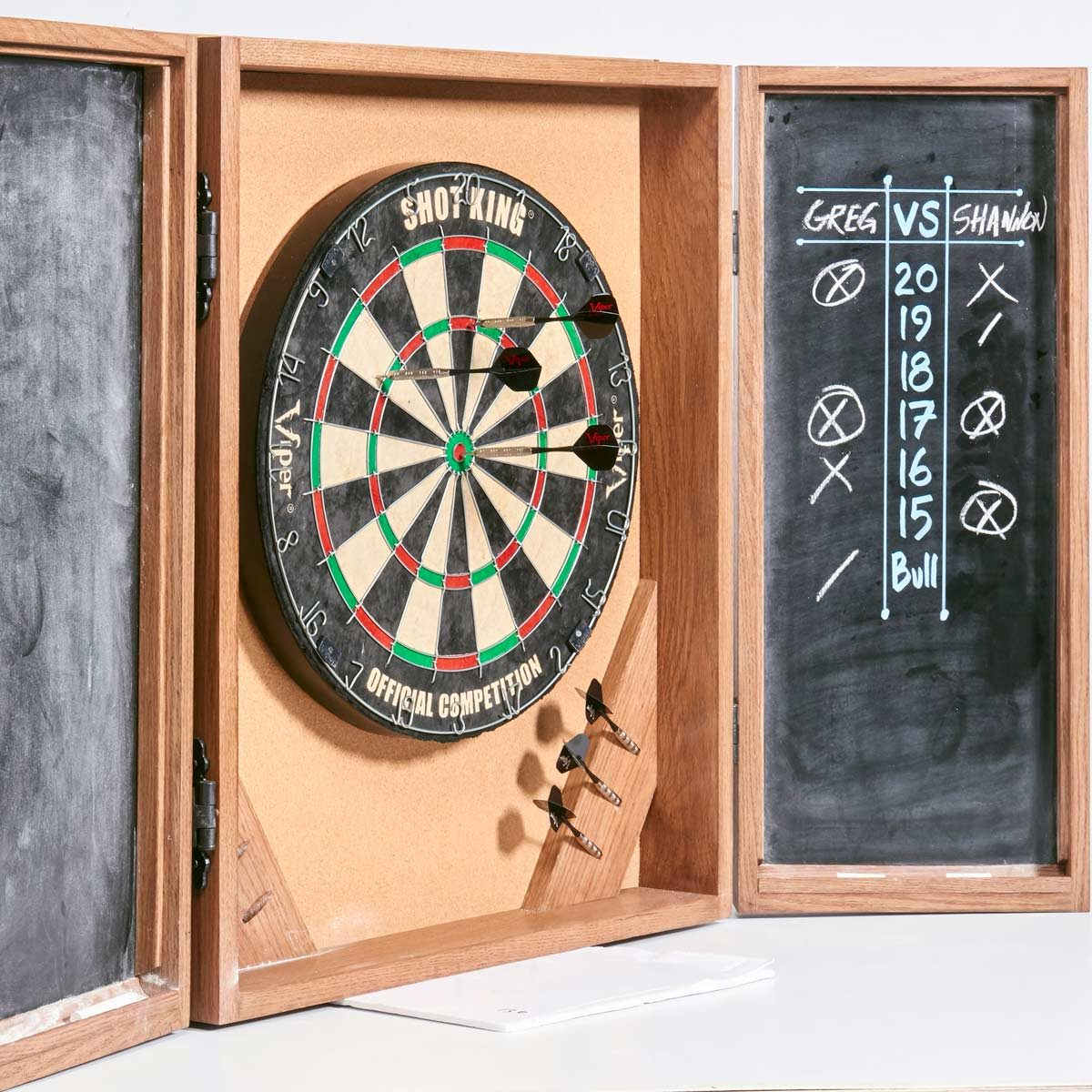 dartboard cabinet with chalkboard