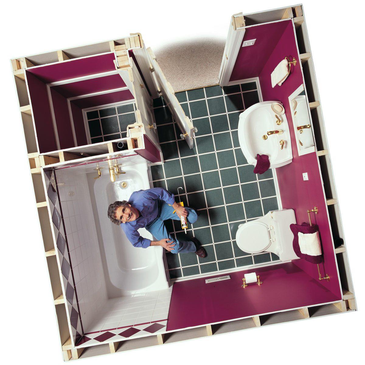 dated green laminate floors in bathroom