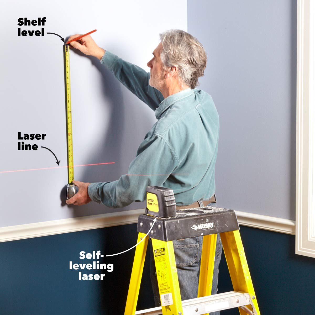 hanging shelves leveling with a laser