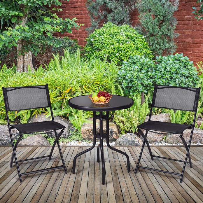 Giantex Bistro Set Garden Backyard Round Table Folding Chairs, with Rust-Proof Steel Frames & Reinforced Glass Design Outdoor Patio Furniture