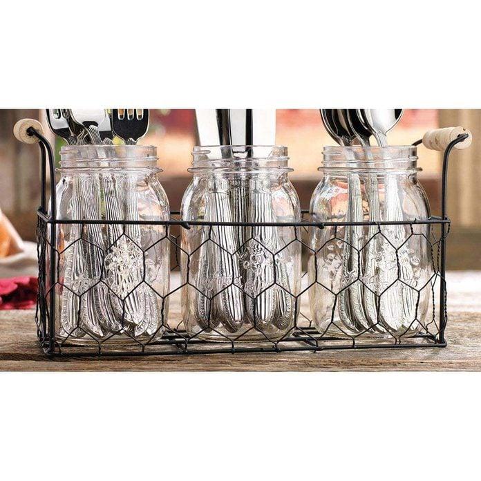 Home-Essentials-Country-Chic-Mason-Jar-Flatware-Utensil-Dinnerware-Tableware-Food-Storage-Holder-Caddy