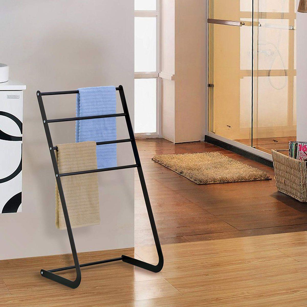 MyGift-32-Inch-Freestanding-Metal-Towel-Rack