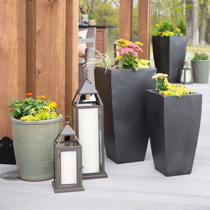 The Shed patio decor including flower planters and lanterns