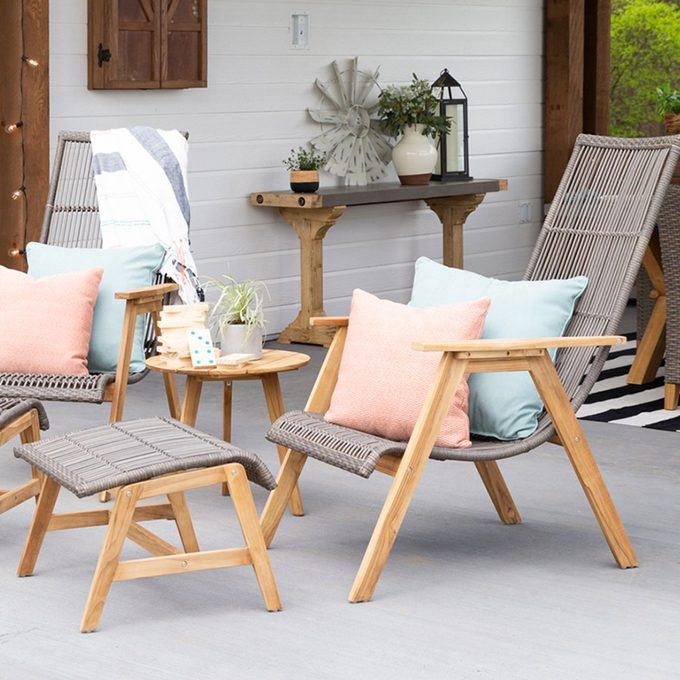 Outdoor patio chairs and foot stools at the Shed