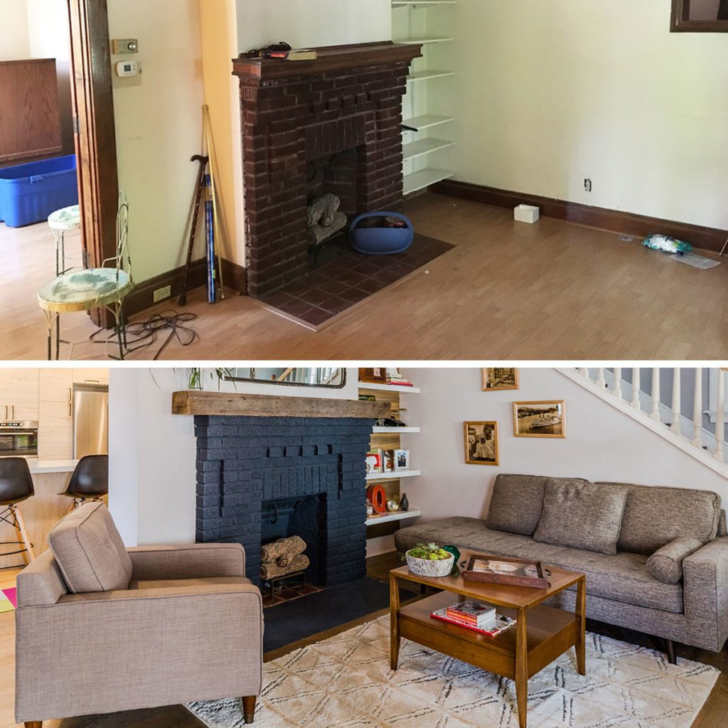 Before and after photos of a remodeling project around a fireplace | Construction Pro Tips