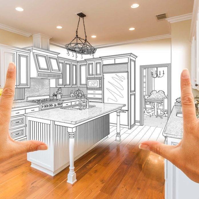 woman visualizes a kitchen remodel