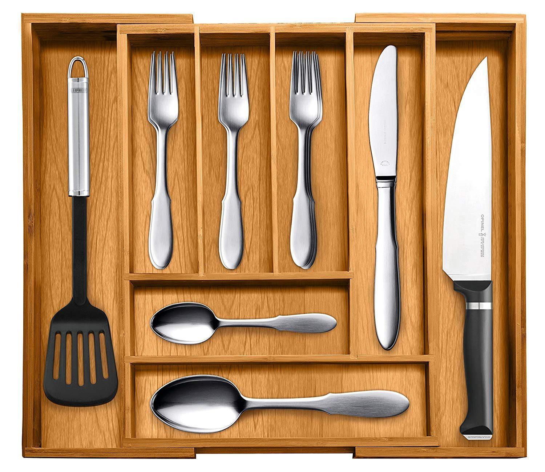 bamboo cutlery drawer organizer