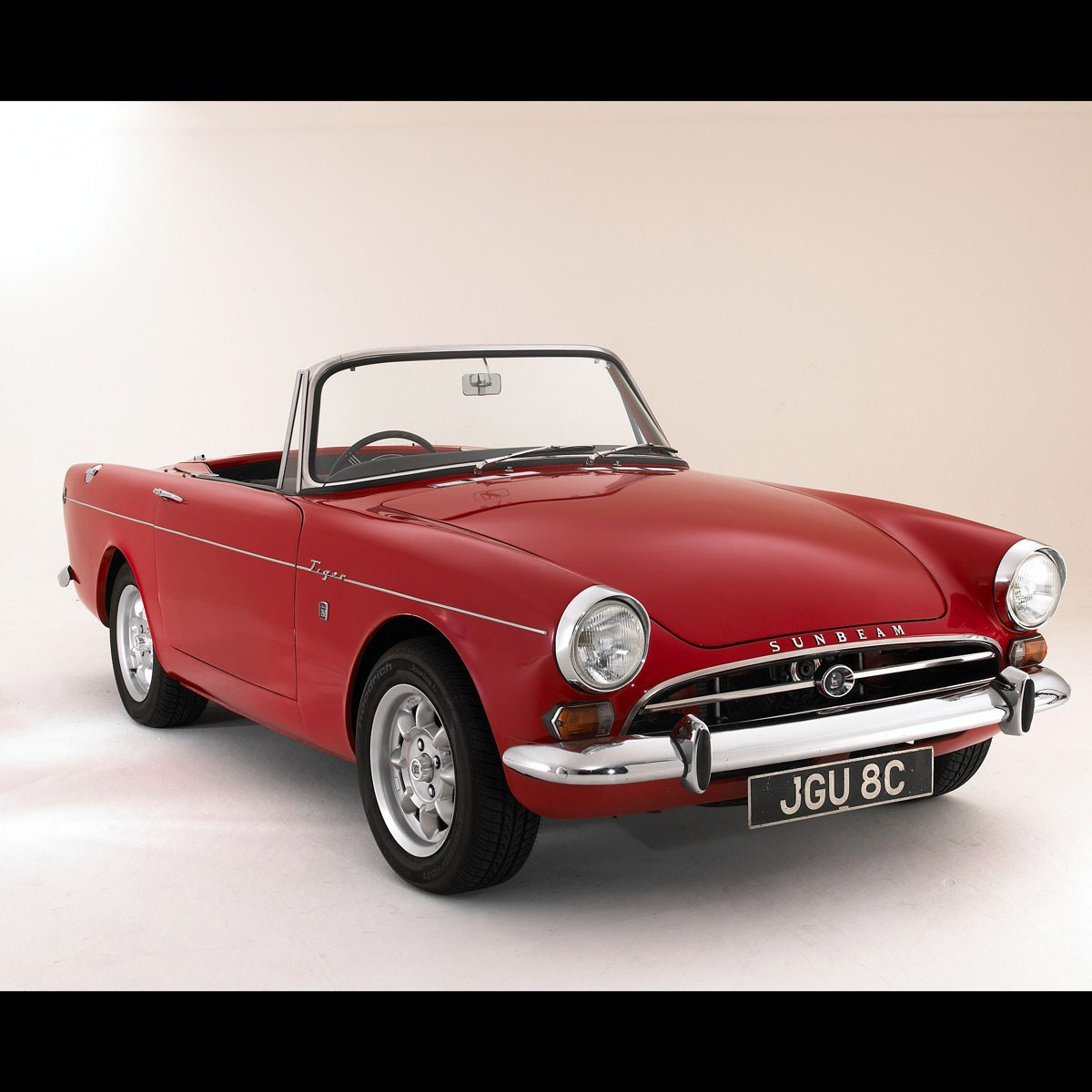"1965 Sunbeam Tiger Alpine 260 used in the TV show ""Get Smart"" sits in a studio"