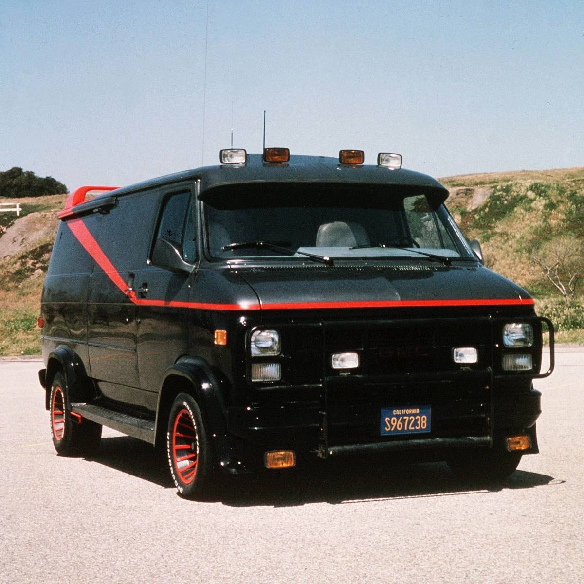 "Black van with red stripe used in the TV show ""The A Team"""