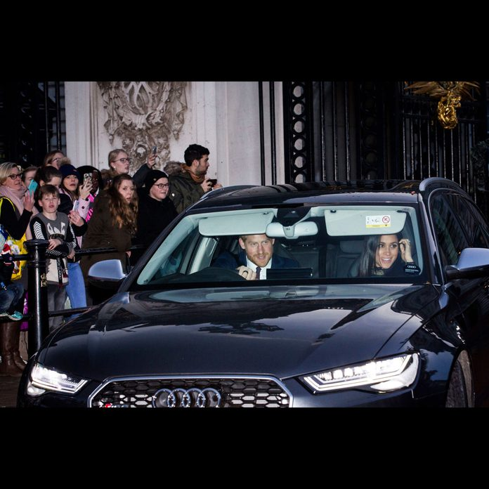 Prince Harry and Meghan Markle in an Audi