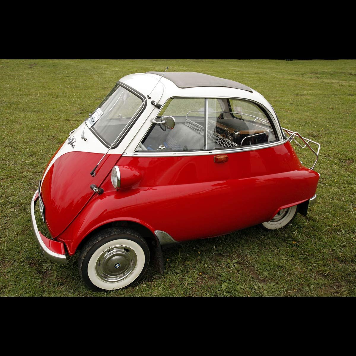 BMW Isetta, red and white small oddly shaped car