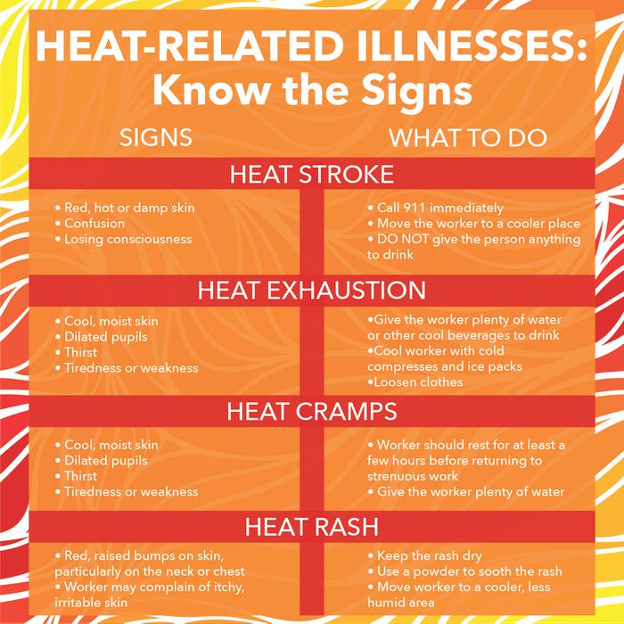 Heat-related illnesses infographic