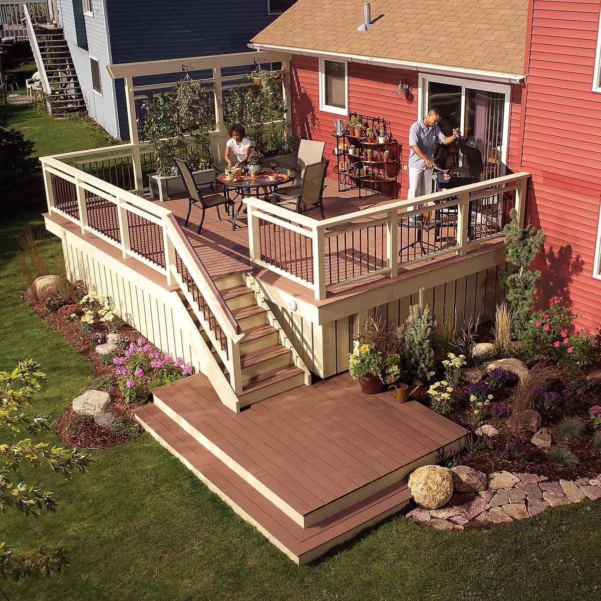 Upgraded deck with platform at end of the stairs
