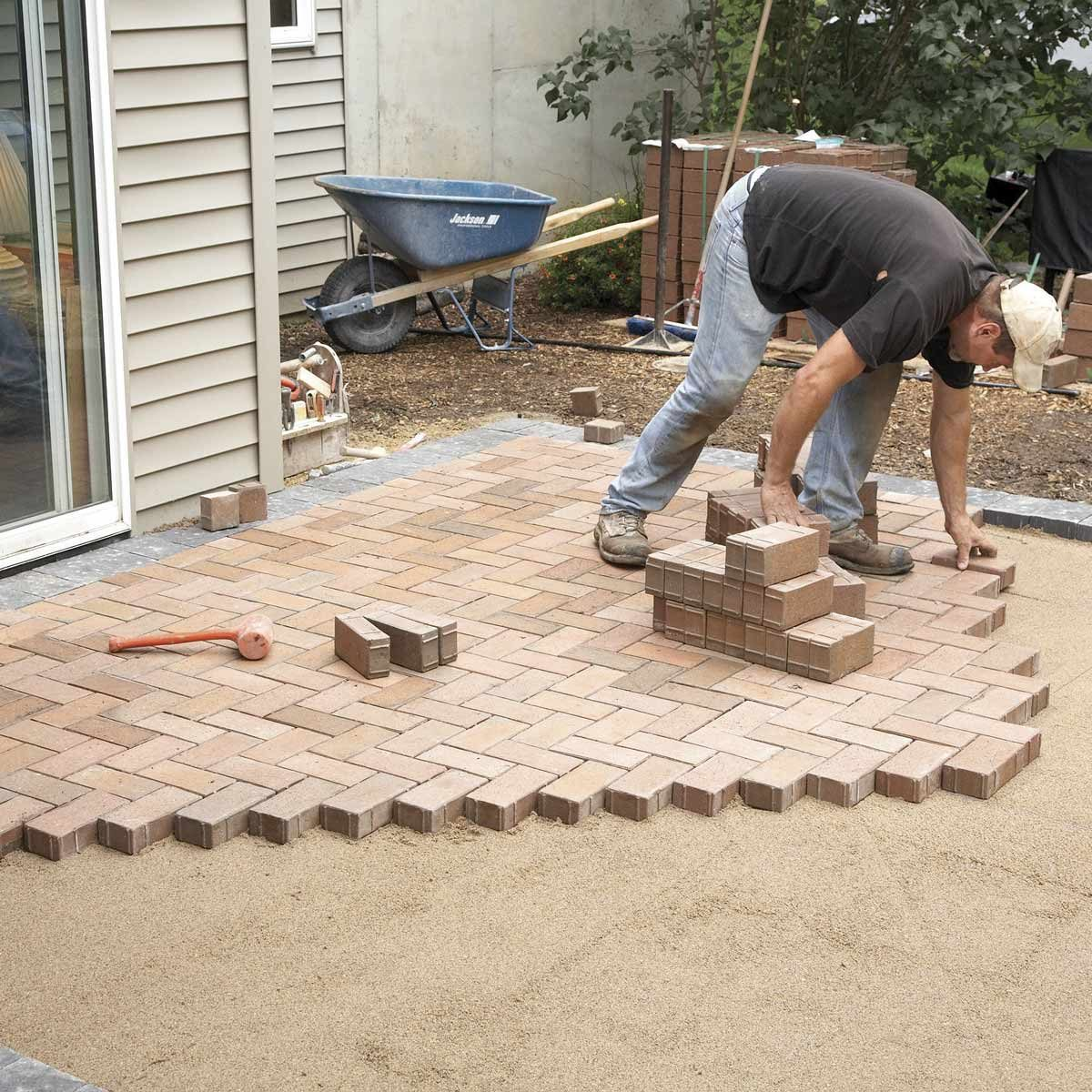How To Cover A Concrete Patio With Pavers Family Handyman