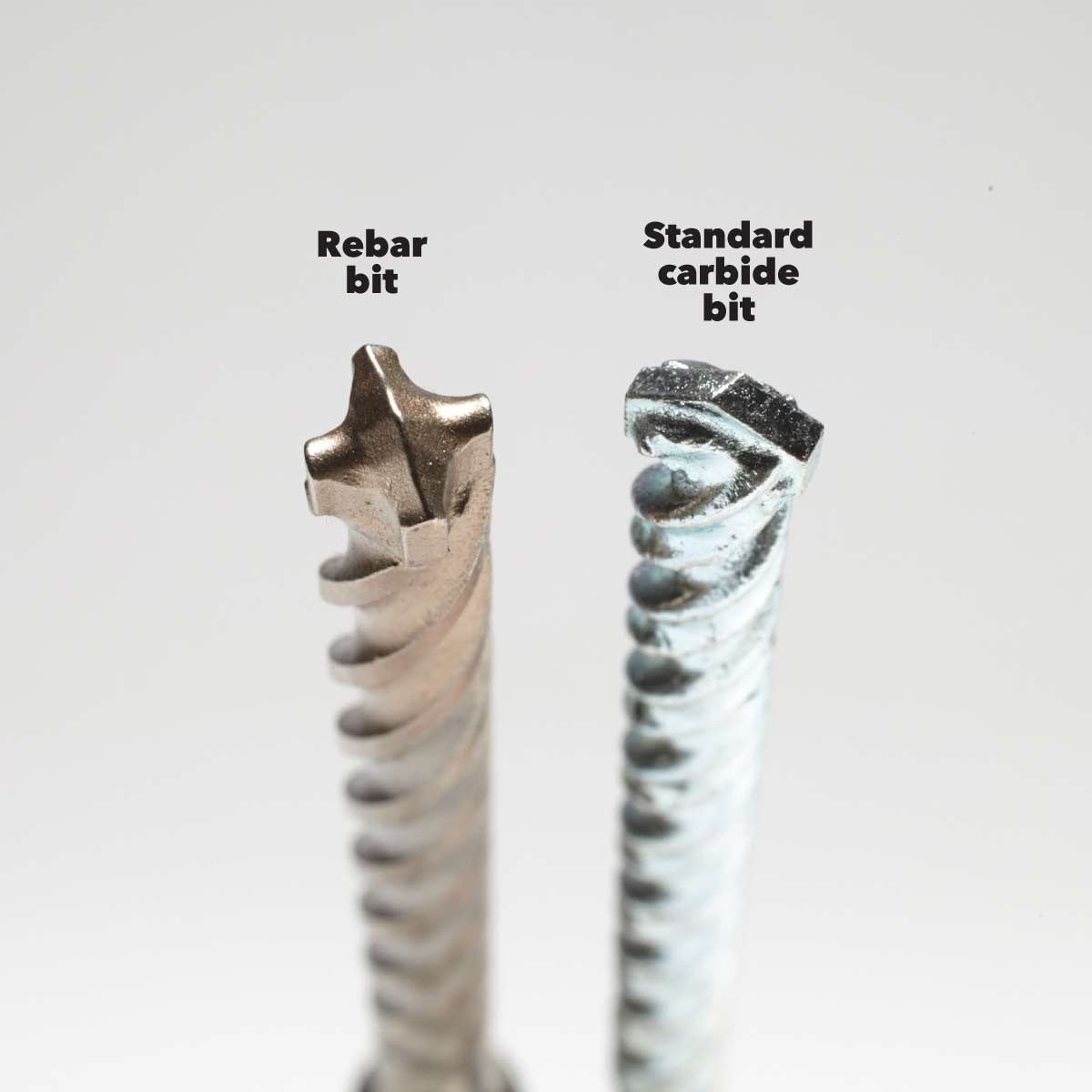 rotary vs hammer drill rebar and standard carbide drill bits