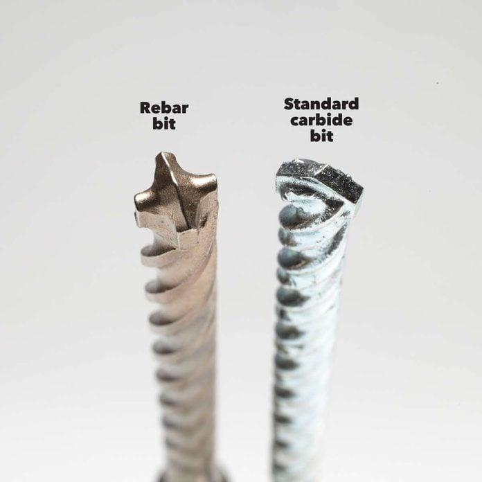 rotary vs hammer drill rebar and standard carbide drill bits