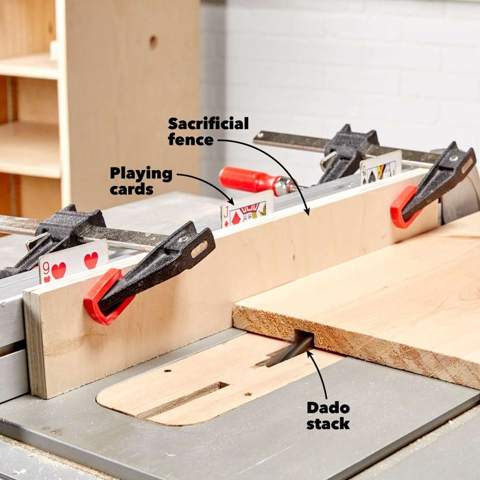 playing card adjustments table saw