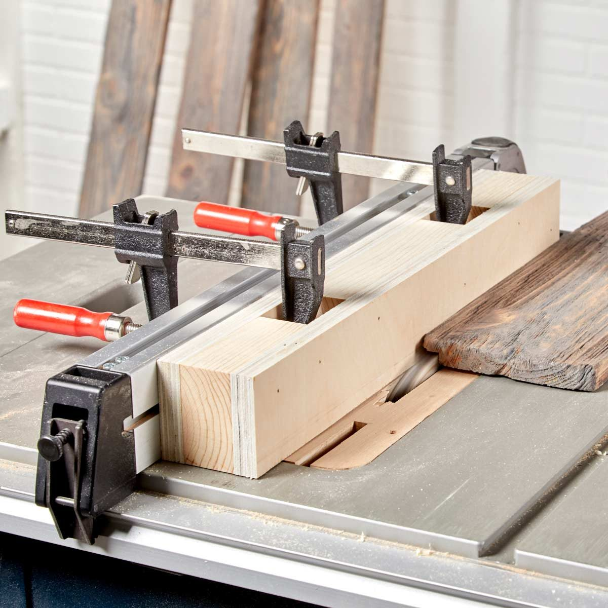 easy clamp sacrificial fence table saw