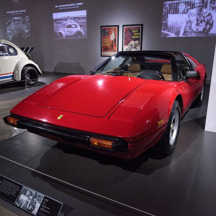 A red 1982 Ferrari 308 GTSi driven by Tom Selleck in Magnum P.I. at the Petersen Automotive Museum in Los Angeles, California