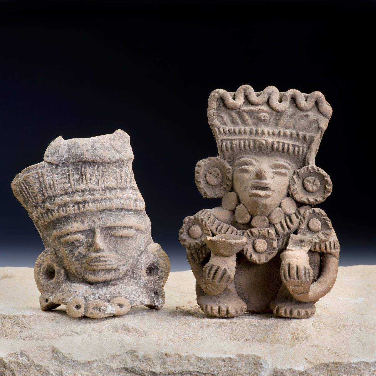 Mayan Pre Columbian warrior figurines made around 600-1000 AD