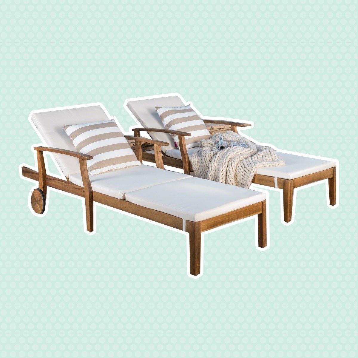 Acacia Wood Chaise Lounge