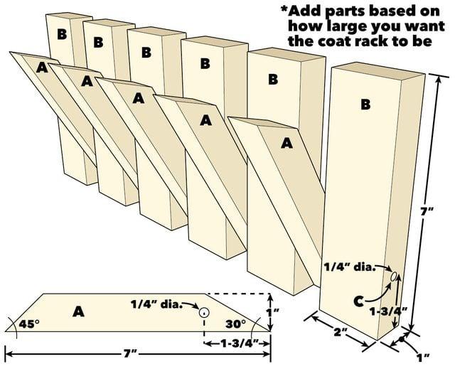 modern pivoting coat rack project plans