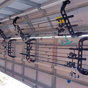 fishing pole garage door rack