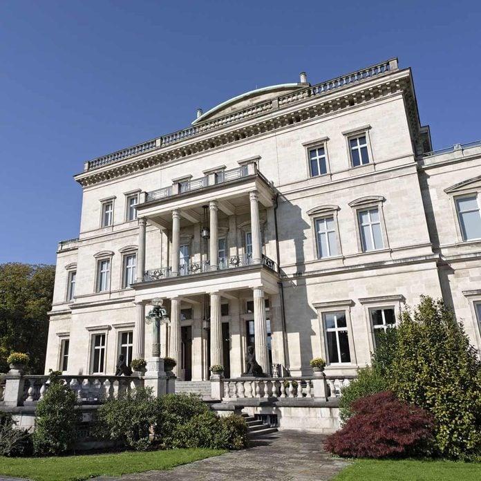 Villa Huegel, main house, terrace side, former residence of the Krupp family, Essen-Baldeney, North Rhine-Westphalia, Germany, Europe