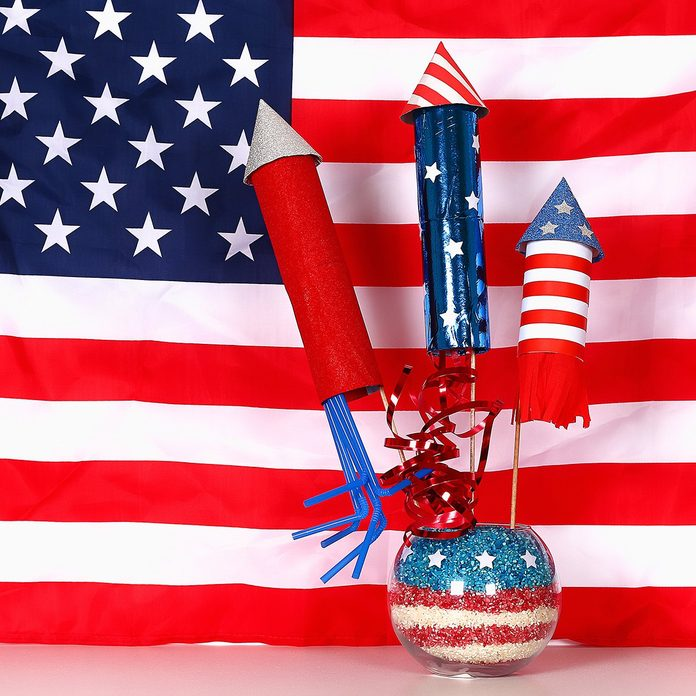 Diy 4th of July decor color American flag, red, blue, white.