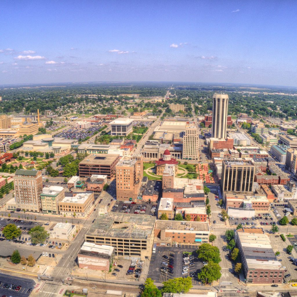 sky view shot of Springfield, Illinois
