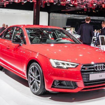 Frankfurt, Germany, September 13, 2017: metallic red Audi S4 Limousine at 67th International Motor Show (IAA)