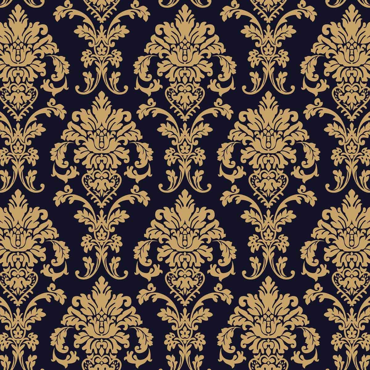 Black and Gold Damask-Pattern