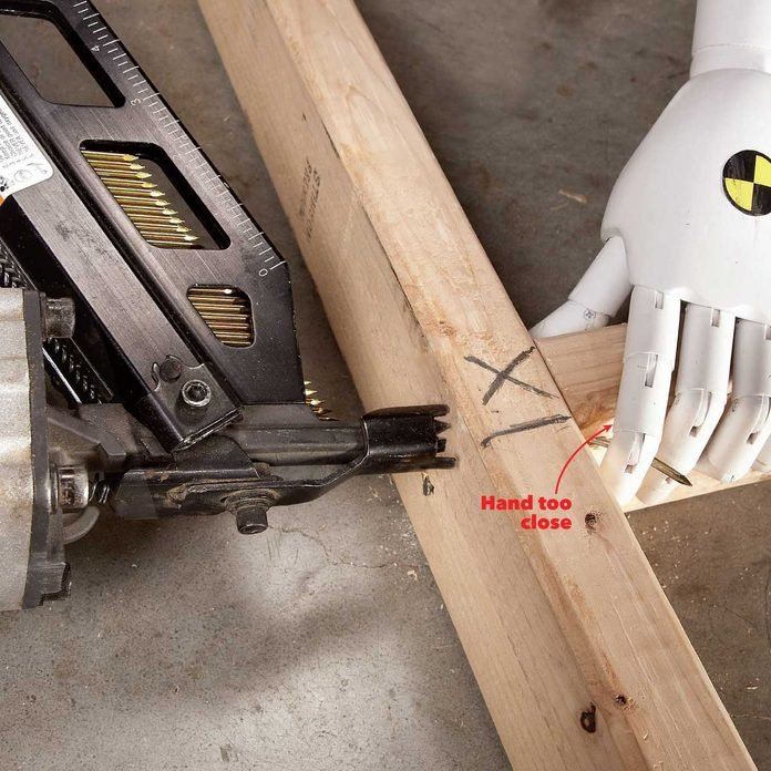 common safety injuries don't put your hands near a nail gun