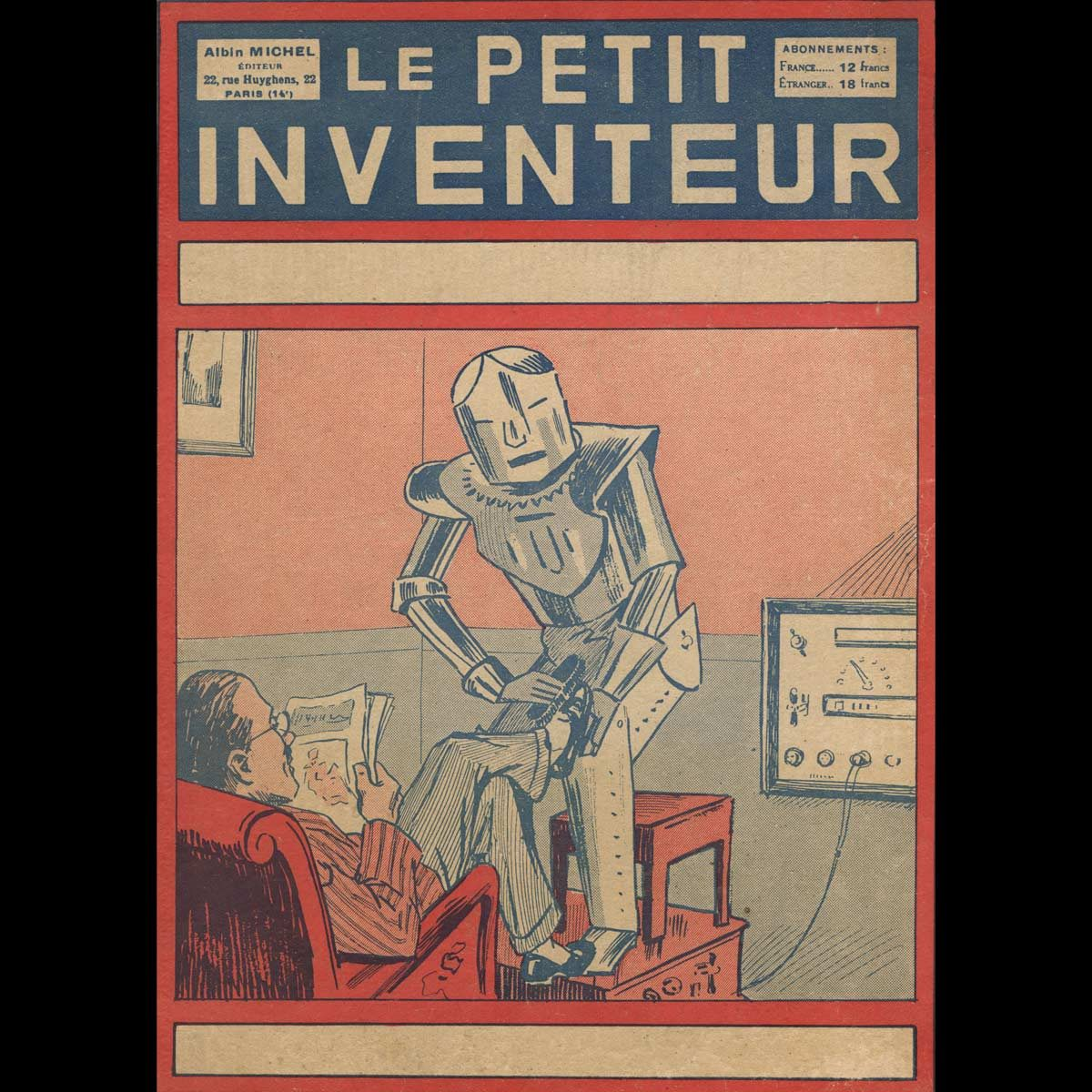 Illustration-depicts-a-robot-servant-helping-a-man from 1929