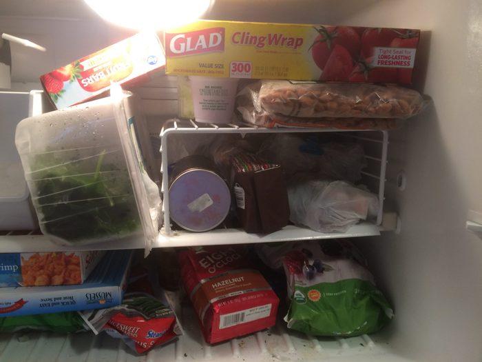 plastic wrap in freezer
