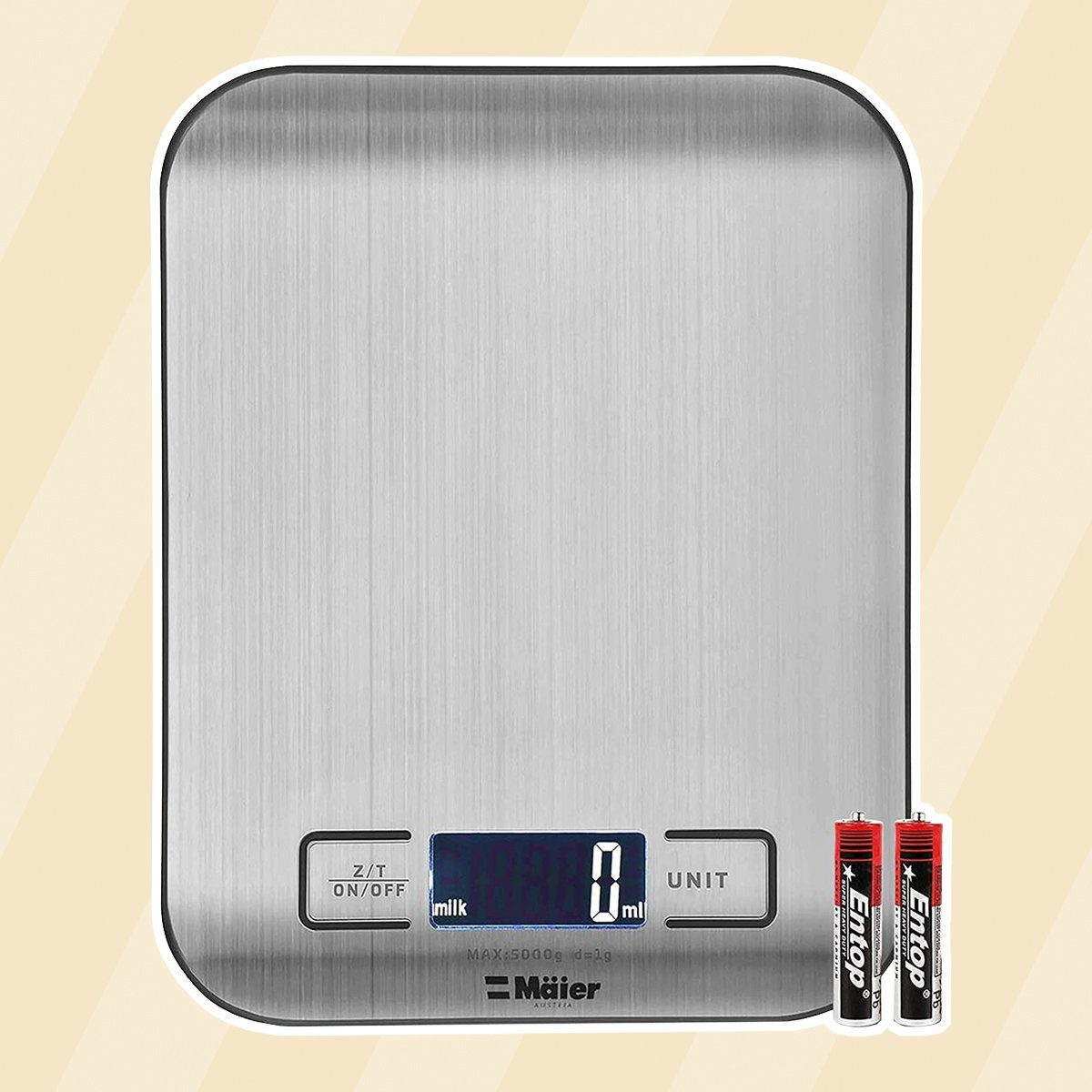 MUELLER Digital Kitchen Mechanical Scale, 30% Greater Accuracy Quad Transducer, Multi-Function Back-Lit LCD, Stainless Steel, 11 lbs, 5 kg (Batteries Included)