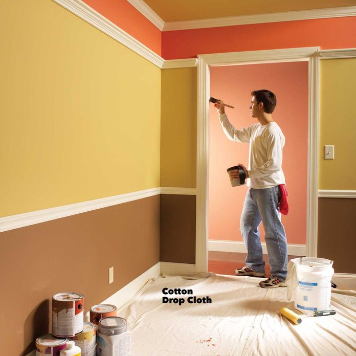 interior painting tips cotton drop cloth