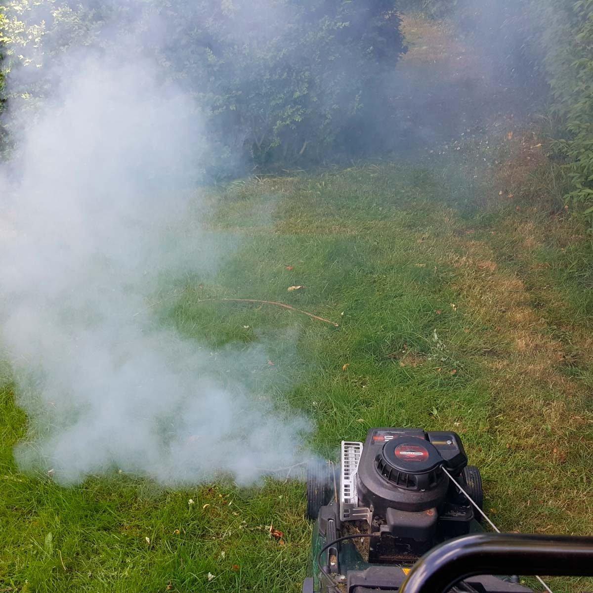 lawn mower smoking