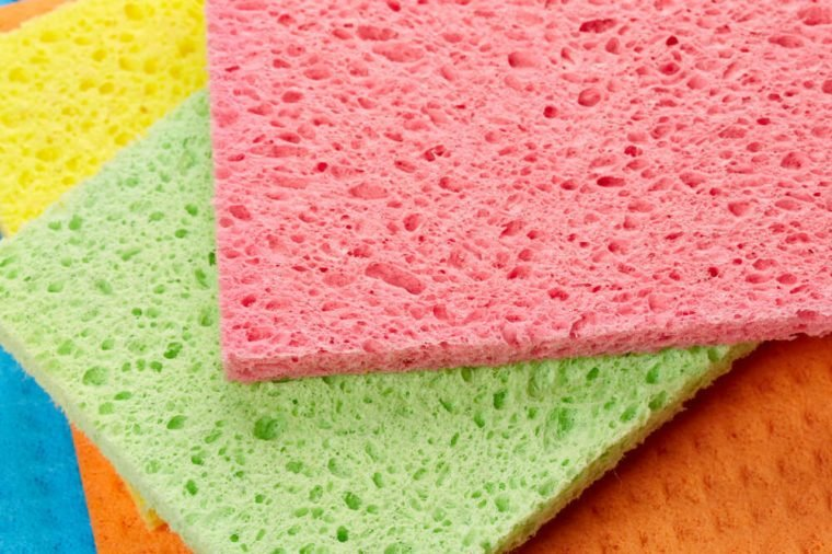 Cleaning sponges isolated on white background