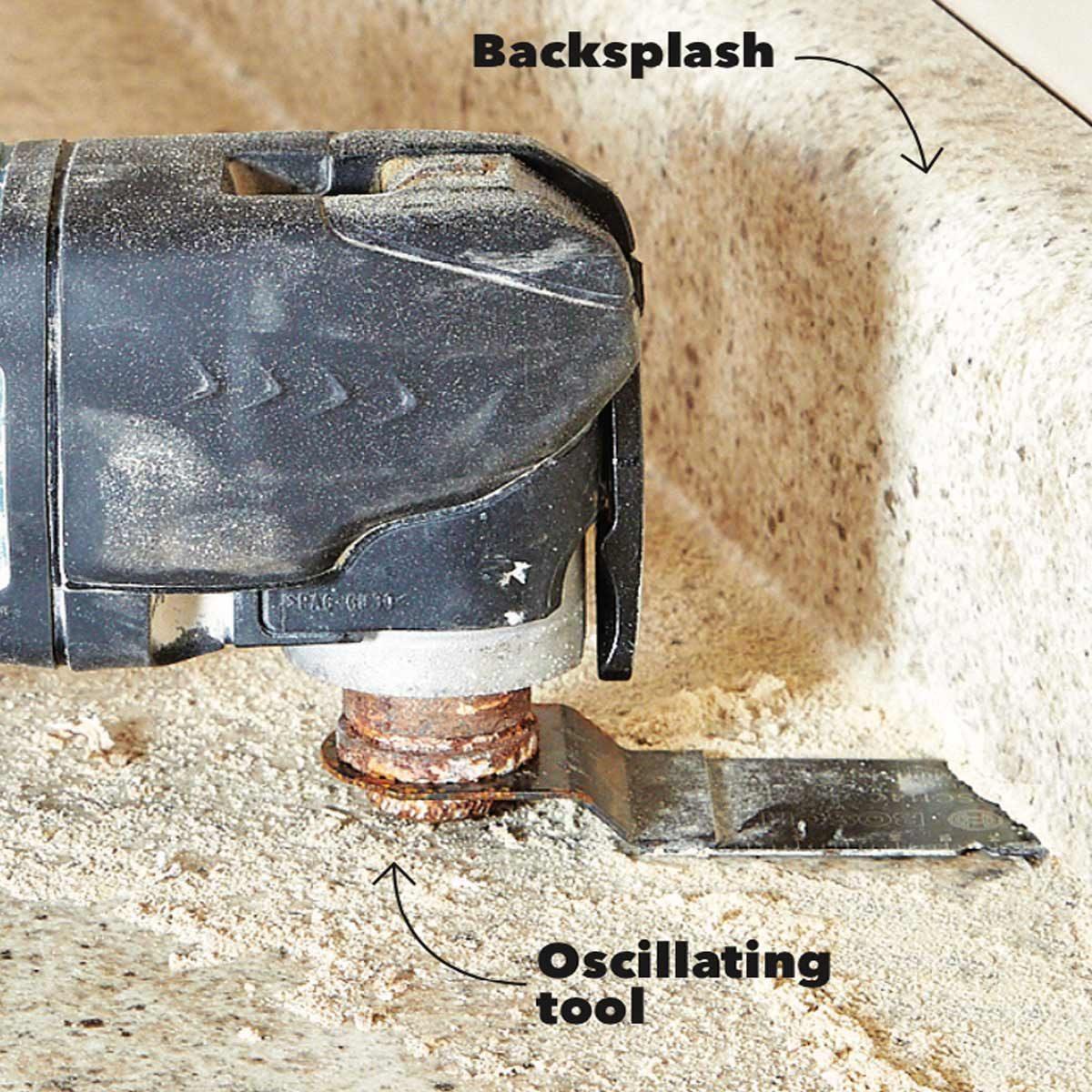 Cut off countertop backsplash
