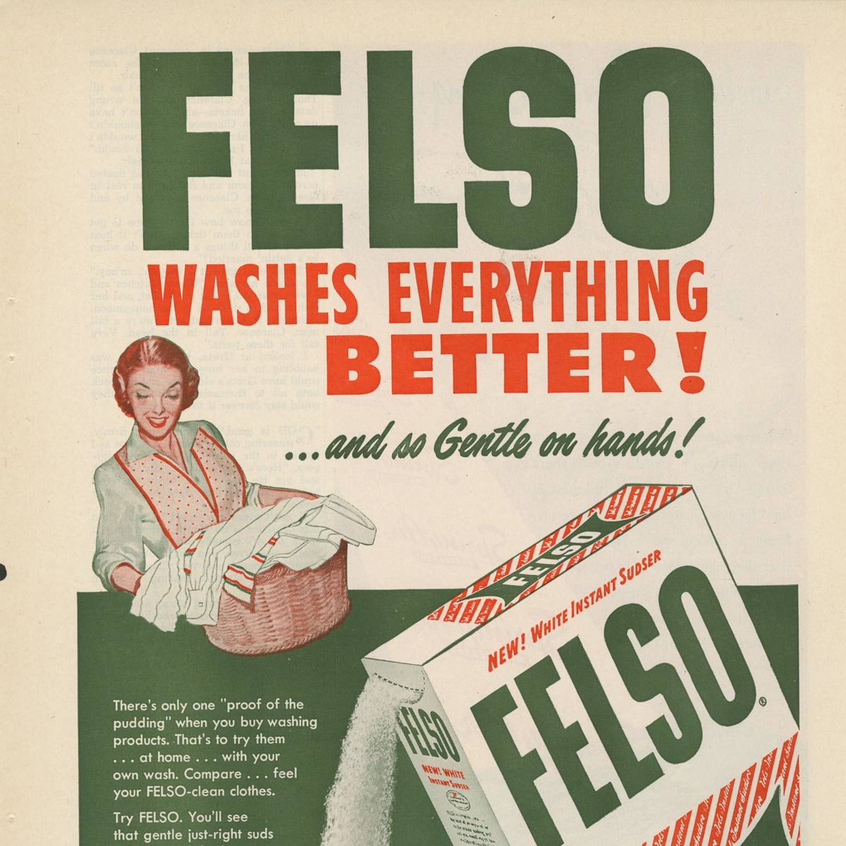 Vintage Felso laundry detergent ad