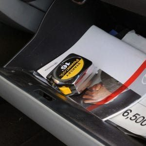 tape measure in a glove box
