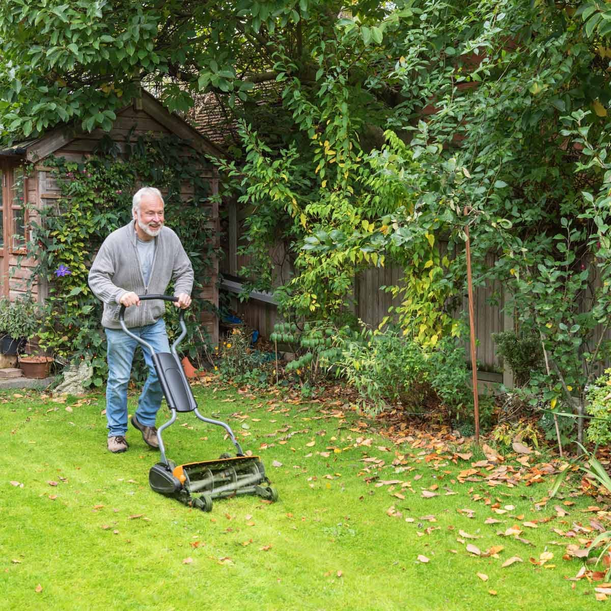 Senior man mowing grass with manual lawn mower